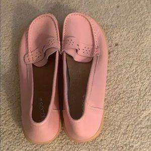 Pink loafer style leather walking shoes very comfy